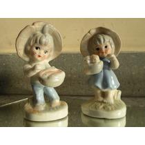 Par 2 (dos) Figuras De Cerámica Esmaltadas Policromadas