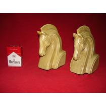 Cabeza De Caballo - Par De Sujetalibros De Ceramica