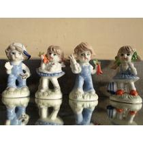 4 Cuatro Figuras De Cerámica Esmaltadas Policromadas Navidad