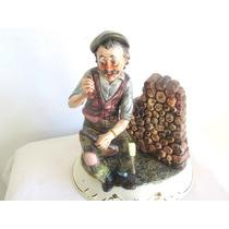Fino Adorno Figura Deco Anciano Sentado Ceramica