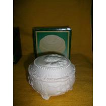 Caja Alhajero Antigua De Ceramica Blanca Opaca