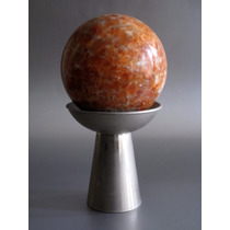 Esfera De Marmol Con Base Metalica, Impecable.