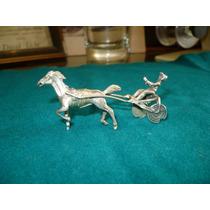 Antiguo Caballo Corredor Sulky De Plata Miniatura Jockey
