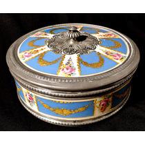 Bombonera Francesa Porcelana Sevres Y Plata Sellada