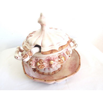 Fino Adorno Centro De Mesa Salsera Porcelana