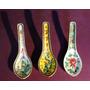 Antiguo Trío De Cucharitas De Porcelana China De Colección