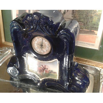 Antiguo Reloj Checoslovako Pintado A Mano Escena Cobalto