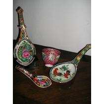 1408- Lote Porcelana Oriental Canton Cucharas Grandes Cuenco