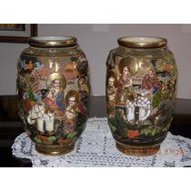 Antiguo Y Unico Juego De Jarrones Porcelana Oriental Satsuma