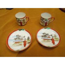 Par De Taza Y Plato Cafe Porcelana Japonesa