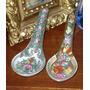 Decorativo Par De Cucharas De Arroz Chinas Porcelana