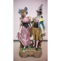 Estatuilla De Porcelana - Pareja Antigua - 35 Cm De Alto