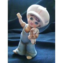 Niña Con Su Perro - Figura De Porcelana Biscuit - Japón