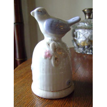 Campana O Llamador De Colección Porcelana Pajarito Y Flores