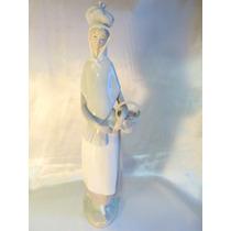El Arcon Gran Figura Porcelana Lladro Mujer Con Cesta 36cm