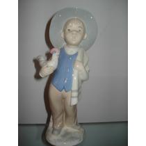 Niño Con Gallina Figura De Porcelana Española Rex Valencia