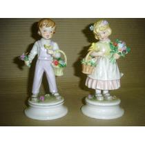 Delicado Par Figuras Porcelana Alemana Sellada (0870)f