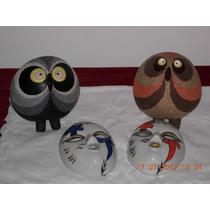 Hermosa Lote De Mascaras De Porcelana Y Buhos Ceramica Firm