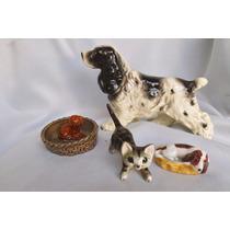 Perro Gato Figura Porcelana Antigua Wade England Envios I