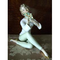 Exquisita Mujer Con Flores Porcelana Alemana Años 60´s