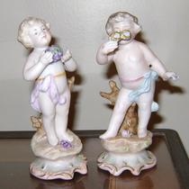 Excelente Par De Querubines Porcelana Japonesa