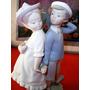 Antigua Figura Porcelana Gres Lladró Galanteo Infantil Sello
