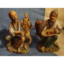Antiguas Figuras Porcelana Japonesa Oriental Tallador Marfil