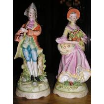 1518- Juego 2 Figuras Porcelana Biscuit Dama Y Caballero 22c