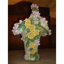 Antiguo Faiance Canasta Con Flores Sello Aleman Gran Tamaño