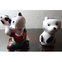 2 Perritos Porcelana Uno Silbato Sin Marcas