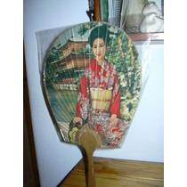 Abanico Antiguo De Cartulina Con Figura De Japonesa