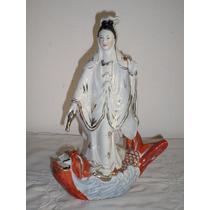 Antigua Enorme Figura Porcelana Oriental Quan Yin Buda
