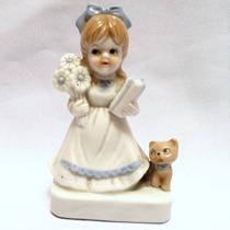 Niña Con Perro, Flores Y Un Regalo - Figura De Porcelana