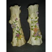Antiguo Par Floreros Porcelana Sellados En La Base (0655)