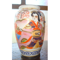 Jarroncito De Porcelana Japonesa Pintado A Mano