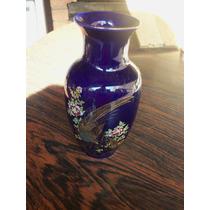 Antiguo Florero Porcelana Azul Cobalto