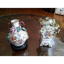 Par De Floreros De Porcelana Antiguos En Subasta!
