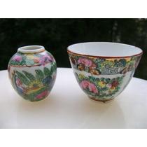Violetero + Bowl O Taza En Porcelana China - No Envío