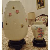 2 Floreros De Porcelana Verbano - Borde Oro