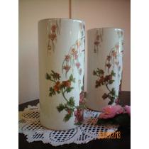 Abba. Pandal 2 Floreros Porcelana Tsuji Pintado A Mano (1582