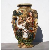 Historical*- Jarrón Satsuma Imperial Firmado Figuras Relieve