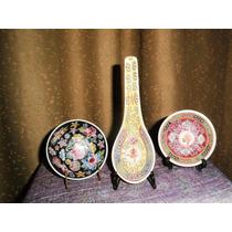 Antiguo Bellamente Colorido Trío Porcelana Cantonesa