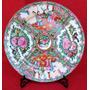 Plato Decorativo Oriental De Porcelana Cantonesa Sello Rojo