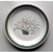 Plato Llano De Porcelana Con Motivo Floral