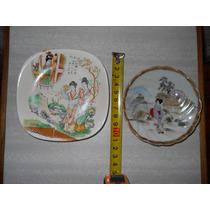 Platitos De Porcelana Con Escena Japonesa Con Firma