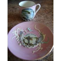 Lindisima Taza Con Plato De Cafe Con Relieve De Porcelana