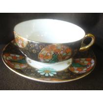 Decorativa Taza De Te En Porcelana Oriental Sellada (713f)