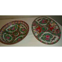 Gran Fuente Y Bandeja De Porcelana Cantón Sello Rojo
