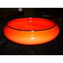 Centro De Mesa De Vidrio Artístico Loetz Tango Color Rojo.