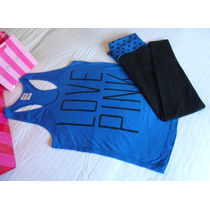 Musculosa Azul Y Pantalón Yoga Capri Victoria